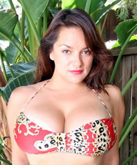 Monica Mendez in a blue tank top